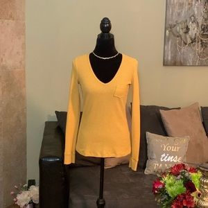 BDG Urban Outfitters NWOT Yellow VNeck Thermal Top